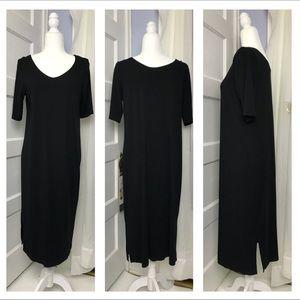 Eileen Fisher Black Viscose Jersey Dress size M